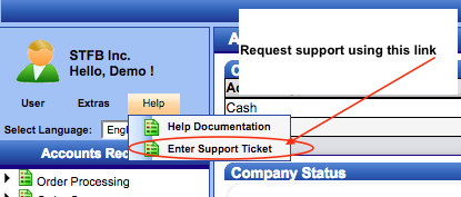 Integral Accounting Enterprise Cloud Entering Support Request